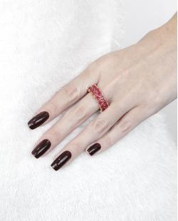 Anel de metal dourado com pedra rosa pink Lekas