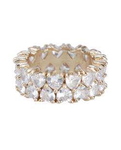 Anel de metal dourado com pedra cristal Lekas