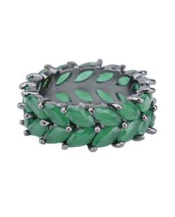 Anel de metal grafite com pedra verde Paffs