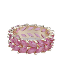 Anel de metal dourado com pedra rosa pink Paffs