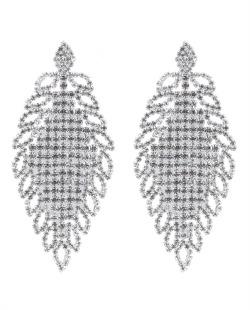 Maxi brinco de metal prateado com strass cristal Arrived