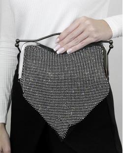 Bolsa de mão clutch preta com strass cristal Hyatn