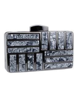 Bolsa de mão clutch de metal e acrilico grafite Yhan