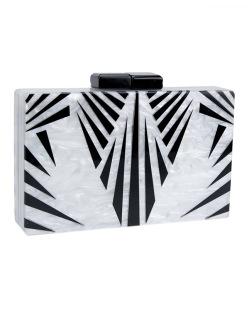 Bolsa de mão clutch de acrílico branca e preto Tahn