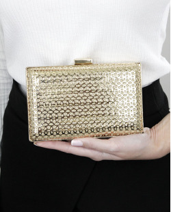 Bolsa de mão clutch de metal dourada Leahn