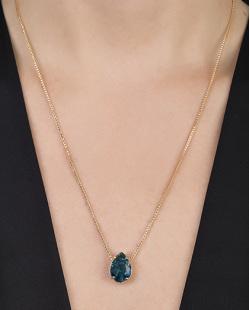 Colar de metal dourado com pedra fusion azul Clirke