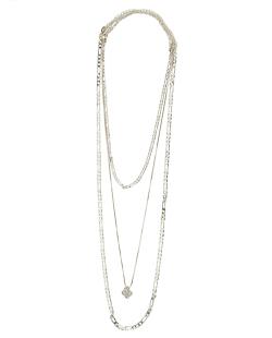 Kit 3 colares de metal dourado com pingente de flor cristal Fuan