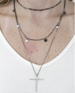 Kit 3 colares de metal grafite com strass cristal Cruz