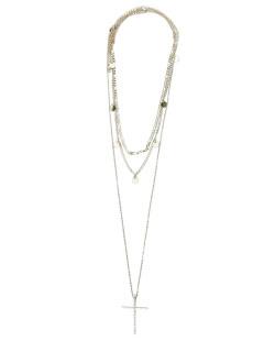 Kit 3 colares de metal dourado com strass cristal Cruz