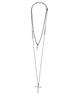 Kit 2 colares de metal grafite com strass cristal DonJuan