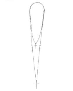 Kit 2 colares de metal prateado com strass cristal DonJuan