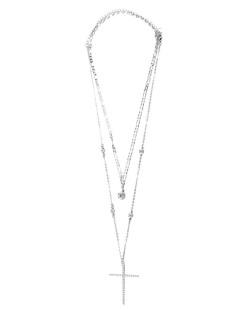 Kit 2 colares de metal prateado com pedra e strass cristal Kevin