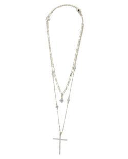 Kit 2 colares de metal dourado com pedra e strass cristal Kevin