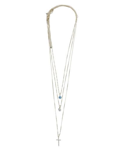 Kit 3 colares de metal dourado com pedra e strass cristal Vahne