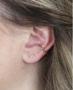 Piercing fake dourado com strass preto Dandara
