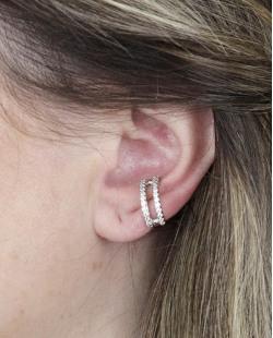 Piercing fake prateado com strass cristal Millen