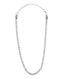 Gargantilha choker de metal prateada com strass cristal Puma