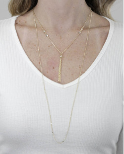 Kit 2 colares de metal dourado com pedra cristal Murlan