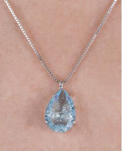 Colar folheado de metal prateado com pedra fusion azul Anna