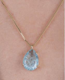 Colar folheado de metal dourado com pedra fusion azul Anna