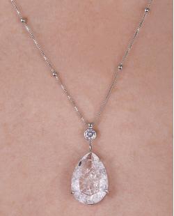 Colar folheado de metal prateado com pedra fusion cristal Sarah