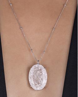 Colar folheado de metal prateado com pedra fusion cristal Dri