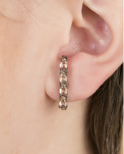 Ear hook de metal grafite com pedra licor Lellys