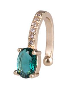 Piercing fake dourado com pedra verde e strass cristal Looney