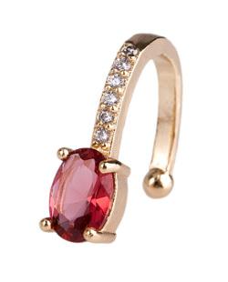 Piercing fake dourado com pedra vermelha e strass cristal Looney