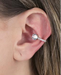 Piercing fake prateado com pedra turquesa e strass cristal Amazing