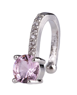 Piercing fake prateado com pedra rosa e strass cristal Amazing