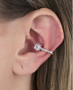 Piercing fake prateado com pedra e strass cristal Amazing