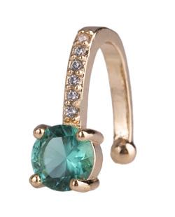 Piercing fake dourado com pedra verde e strass cristal Amazing