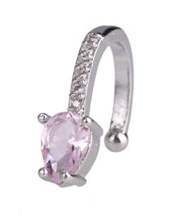 Piercing fake prateado com pedra rosa e strass cristal Nastia
