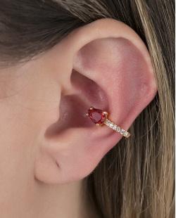 Piercing fake dourado com pedra vermelha e strass cristal Nastia