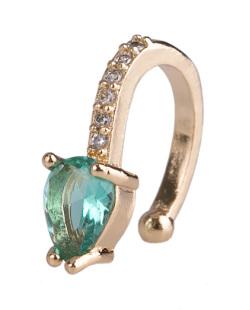 Piercing fake dourado com pedra verde e strass cristal Nastia