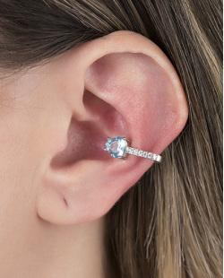 Piercing fake prateado com pedra turquesa e strass cristal Feels