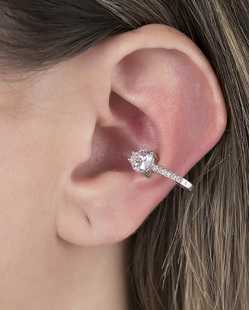 Piercing fake prateado com pedra e strass cristal Feels