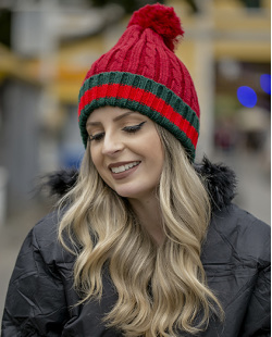 Gorro de tricô vermelho Gucci