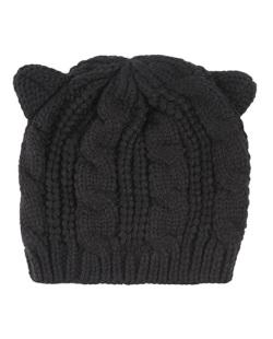 Gorro de tricô preto Bear