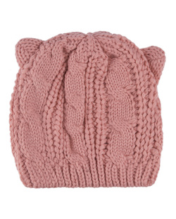 Gorro de tricô rosa Bear