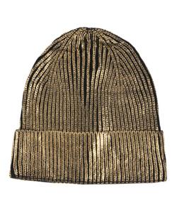Gorro de tricô metalizado preto e dourado Ludmilla