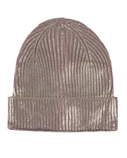 Gorro de tricô metalizado rosa e dourado Ludmilla