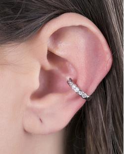 Piercing fake prateado com strass cristal Queiroz