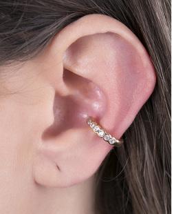 Piercing fake dourado com strass cristal Queiroz