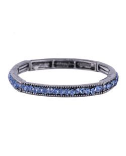 Pulseira de metal grafite com strass azul Lellys