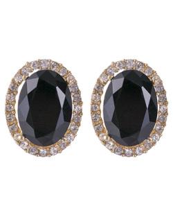 Brinco pequeno de metal dourado com pedra preta e strass cristal Lavie