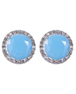 Brinco pequeno de metal prateado com pedra azul e strass cristal Tigger