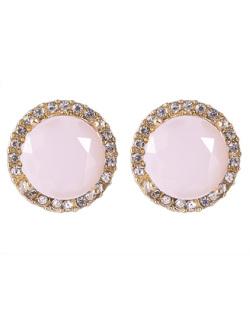 Brinco pequeno de metal dourado com pedra rosa e strass cristal Tigger