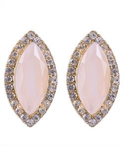 Brinco pequeno de metal dourado com pedra rosa e strass cristal Moecke